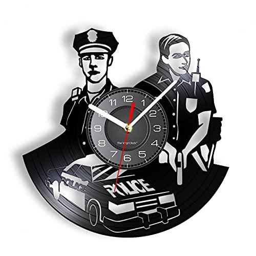 XYVXJ Reloj de Pared de Oficial de policía Sirviente público Policía Pistola Gorra de Uniforme de CocheIluminación