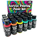 Acrylic Paint Pouring Kit for Pour Art and Flow Painting 24 Color Set