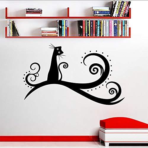 jukunlun Wand VinylKer Katzetierisches Baum Wandtattoo Kinderzimmer Schlafzimmer -Dekor -Nette Katze Kinderzimmer -Wand -Kunst -Wand Removable Cat Aufkleber 57X34Cm
