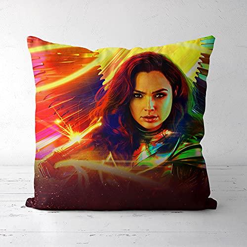 Funda de Almohada Cuadrada de Color, Lisi Velvet45x45cm Wonder Woman, Impresión y teñido respetuosos con el Medio Ambiente, Que le brindan Comodidad (Incluidas Las Almohadas)