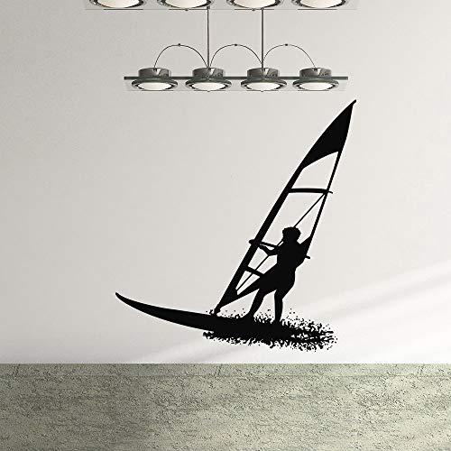 Pegatinas de pared, tabla de surf chico deportista guardería niños decoración de habitación de niños vinilo arte extraíble póster Mural calcomanías 42x44cm