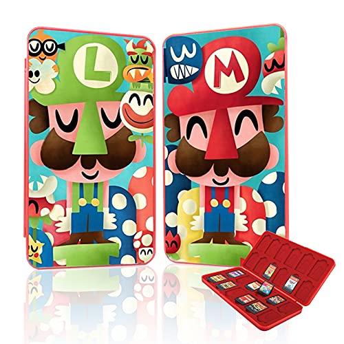 Custodia Porta Cartucce per Nintendo Switch, Porta Schede per Nintendo Switch, Porta Giochi di Immagine Dinamica 3D Portatile dal Design Unico per 24 Schede di Gioco e 24 Schede di Memoria TF (Mario)