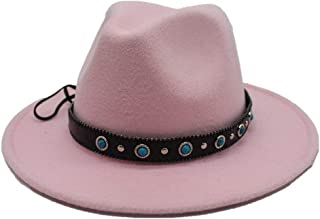 Hats Wide Brim Fascinator Hat Size 56-58CM Men Women Wool Fedora Hat for with Punk Belt Winter Outdoor Church Casual Hat Fashion (Color : Pink, Size : 56-58)