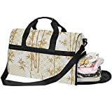 Dallonan - Bolsa de Deporte para Hombre, Grande, Estilo japonés, Estilo Chino, de bambú, con Compartimento para Zapatos