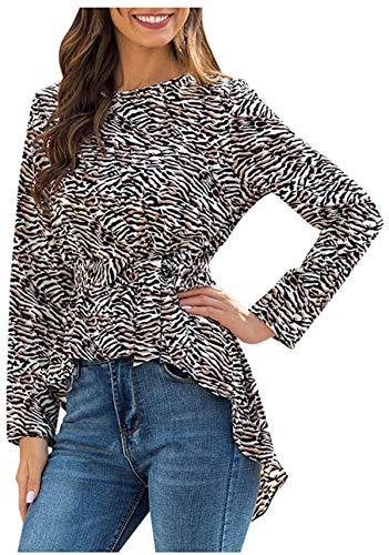Tammy W Nash Womens Leopard Print Top Crew Neck T Shirt Long Sleeve Casual Cute Tee Blouse