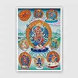 U/D Peinture Thangka avec motif de Bouddha tibétain du Sud-Est asiatique, peinture décorative pour la maison (couleur : 01, taille : 25 x 37 cm, sans cadre)