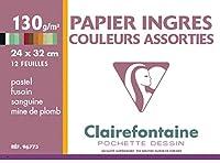 Clairefontaine 24 x 32 cmイングルパステル紙、130 g、12枚