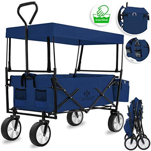 KESSER® Bollerwagen faltbar mit Dach Handwagen Transportkarre Gerätewagen | inkl. 2 Netztaschen und Einer Außentasche | klappbar | Vollgummi-Reifen | bis 100 kg Tragkraft | (Blau/Navy
