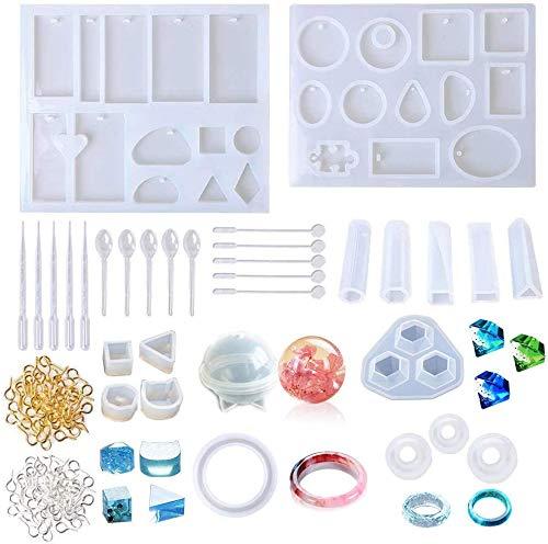 Auveach - 232 moldes de resina de silicona epoxi, resina UV, moldes para fundir joyas de resina para creación de colgantes, pulseras, pendientes, moldes para diamantes