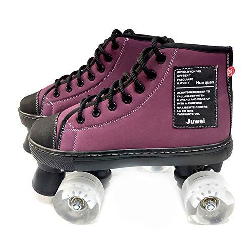 Quad Skates Schuhe, Rollschuhe Classic High-Top, Canvas Double Row Rollschuhe für Damen & Herren, 36