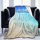 Ropa de cama liviana y cómoda, tranquila playa de la isla de las Seychelles con una imagen exquisita del cielo ausente, una manta adecuada para todas las estaciones es adecuada para 60 'X 50'
