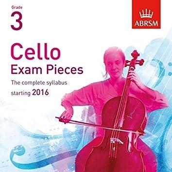 Cello Exam Pieces Starting 2016, ABRSM Grade 3
