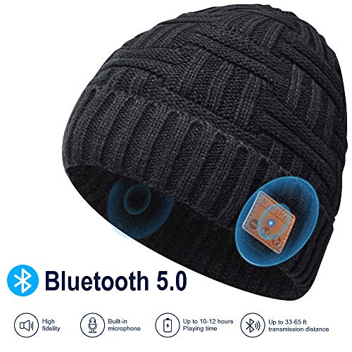 Männer und Frauen Geschenk Bluetooth Mütze - Bluetooth 5.0 Bluetooth Mütze, Mütze mit Kopfhörern Bluetooth, Laufen, Skifahren, Radfahren Mütze mit Bluetooth Herren und Damen Geschenk