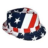 HDE USA American Flag Stingy Short Brim Trilby Fedora Hat Cap