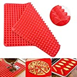 Silicone Baking Mat Pyramid - Best Healthy Chef Cooking Fat Reducing Sheet For Oven Grilling BBQ, Baking and Roasting, Superb Non-Stick Food Grade Silicone, Dishwasher Safe Series (1 PCS 16x11 IN)
