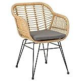 IDIMEX Esszimmerstuhl Paramo aus Polyrattan, moderner Gartenstuhl in Rattan Optik, Küchenstuhl mit Sitzkissen, Korbstuhl mit robustem Metallgestell