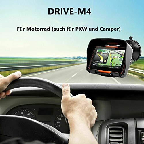 4.3 Zoll GPS Navigationsgerät Navi Drive-M4 Für Motorrad und PKW. wasserdichte. Radarwarner, Kostenlos Map Update. Bluetooth, auch für Camper und LKW nutzbar. Klares und helles Display