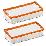 2 x Filtro de pliegues plano para Original Aspiradora Kärcher NT 65/2 Ap, NT 65/2 Eco, NT 65/2 Eco TC, NT 72/2 Eco TC, NT 75/2 Ap Me Tc como original 6.904 - 283.0, 6.904 - 283 (2 unidades)