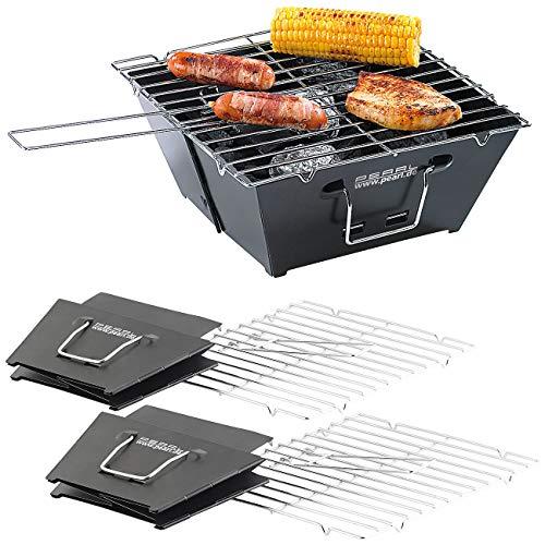 PEARL Klappgrill: 2er-Set flach zusammenklappbare Kohle-Grills, Grillfläche je ca. 24,5 (Holzkohlegrill)