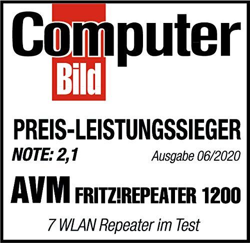 AVM FRITZ!WLAN Mesh Repeater 1200 (Zwei Funkeinheiten: 5 GHz (bis zu 866 MBit/s), 2,4 GHz (bis zu 400 MBit/s), 1x Gigabit-LAN, deutschsprachige Version)
