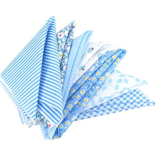 Topker Baumwolltuch Baumwollstoff 50x50cm Nähen Quilten Patchwork Stoffpaket Stoffreste DIY 7 Stücke Blau Serie Blumen Baumwolltuch