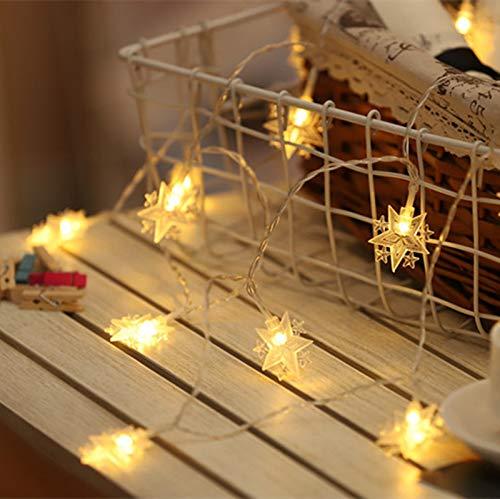 Yiwa Lichtsnoer, led-lichtketting, ster, vakantie, buiten, voor kerstfeest, decoratie, voor bruiloft, werkt op batterijen, 1,5 m, 10 lampen, accu met vijf kleurrijke takken