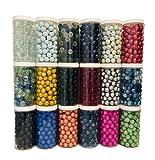 Rhinestone Paradise 500 ml de canicas, tapón de rosca, lata sobre 120 canicas, bolas decorativas de cristal, 16 mm, juego de canicas, decoración de cristal, color azul