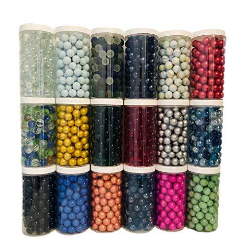 Rhinestone Paradise 500 ml tappo a vite per biglie oltre 120 biglie di vetro sfere decorative 16 mm gioco di mille in vetro (oro)