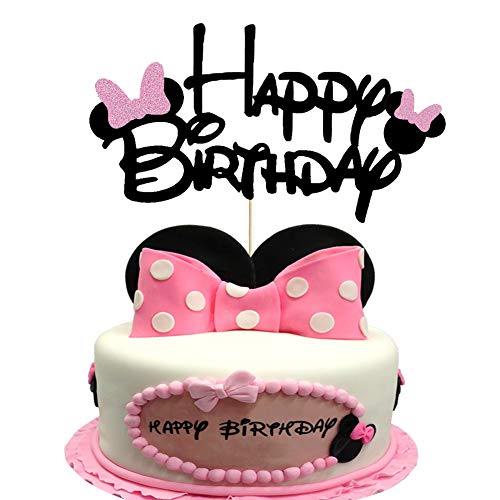 Minnie Happy Birthday Cake Topper with Pink Bow Tie Glitter Mouse First Birthday Two Three Four Five Six Years Old Birthday Minnie Themed Kids Girl Birthday Party Cake Supplies Decoration