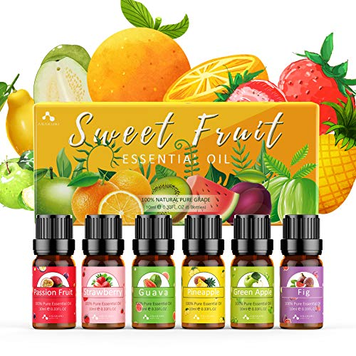 ASAKUKI Fruity Essential Oils Gift Set 6 x 10 mL, Natural Pure Strawberry, Pineapple, Fig, Guava, Passion Fruit, Green Apple for Diffuser, Humidifier, Massage or DIY Soaps, Candles