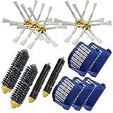 Piezas de repuesto para limpiador de cepillo batidor Aero Vac Filter 6 Armed Side Brush Fit para iRobot para Roomba 528 529 595 610 620 625 630 650 660 robot de aspiración (color negro, blanco y azul)