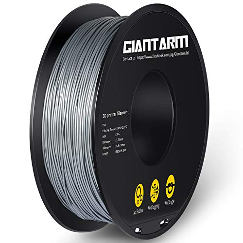 GIANTARM PLA Filament 1.75mm, 3D Drucker PLA Filament 1 kg Spool (Silber)