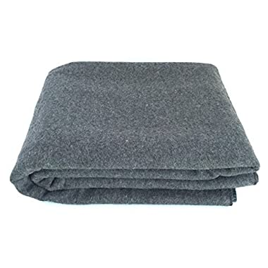 EKTOS 90% Wool Blanket, Grey, Warm & Heavy 4.4 lbs, Large Washable 66 x90  Size, Perfect for Outdoor Camping, Survival & Emergency Preparedness Use