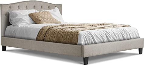 Queen Bed Frame, Fabric Upholstery Bed Base, Beige