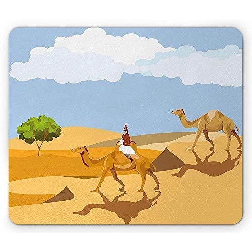 Oasis-Mausunterlage,Frau In Der Traditionellen Kleidung,Die EIN Kamel In Der Wüste Reitet,Kennzeichnet Tätigkeiten,Rutschfestes Gummi-Mousepad des Rechtecks
