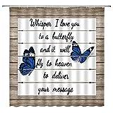 AMHNF Duschvorhang, Schmetterling-Zitate, blauer Schmetterling auf grauem Holz, Whisper I Love You To A Butterfly, 178 cm mit Haken