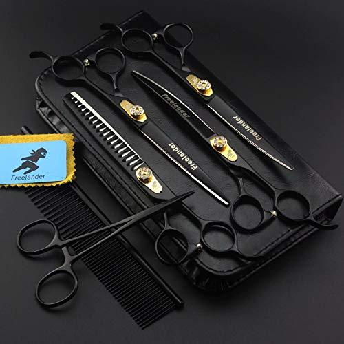 Zwarte huisdieren schaar 7 inch set professionele huisdier schaar schaar schaar kam + leren etui Lisca Di Pesce