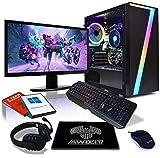 AWD-IT Ensemble PC de Bureau de Jeu - APU AMD Ryzen 5 3400G 4,2 GHz/Radeon Vega 11 • Écran LED 24' • Clavier et Souris Gamer...