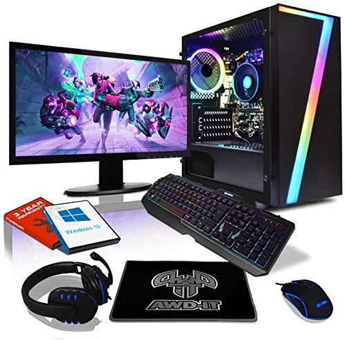 """AWD-IT Ensemble Gaming PC - Processeur AMD Ryzen 5 Pro 3350G à 4 cœurs • Écran LED 24""""• Clavier et Souris Gamer • 16 Go • 1 to • Étui à LED Seven RGB • WiFi • Windows 10"""