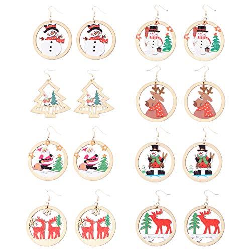 Holibanna 8 Paar Weihnachtsholz Tropfen Ohrringe Urlaub Baumeln Ohrringe mit Rentier Weihnachtsbaum Santa Schneemann Gemalte Geschenke für Frauen Thanksgiving Winter Party Gefälligkeiten