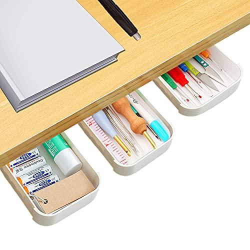 3 Stück Unter Schreibtisch Schubladen Organizer, Selbstklebende Schubladen Federmäppchen Stiftbox Büro Bleistiftablage Versteckter Desktop Speicher Organizer für Büro Zuhause Schule (weiß)