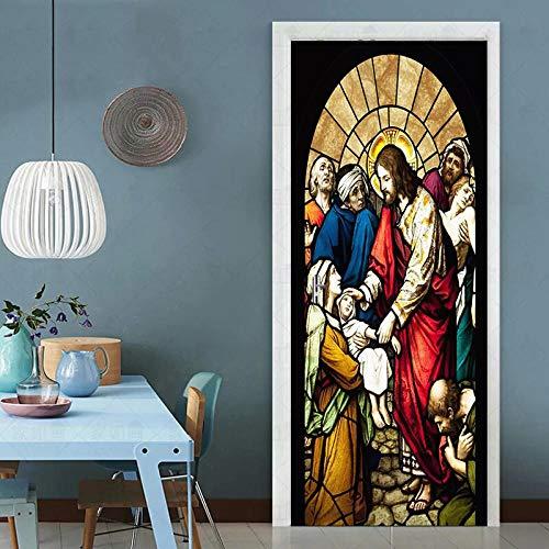 YQLKD Murales para Puertas 3D Retro Religión Adhesivo Papel Pintado Impermeable Inicio Etiqueta De La Puerta 3D Imprimir Imagen