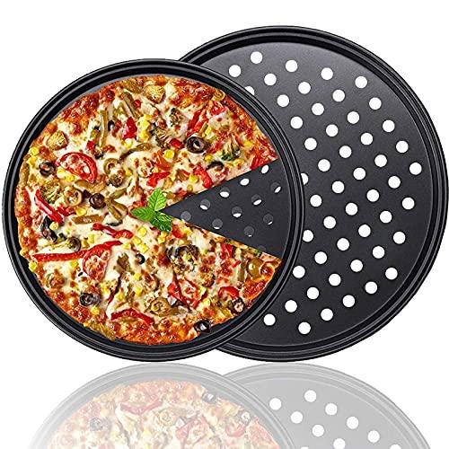 Juego de 2 Bandejas Pizza Moldes para Pizza Bandejas Pizza Horno Redondas Antiadherentes y Perforadas Bandeja Profesional para Hornear Pizza de Corteza Crujiente (11 Pulgadas,13 Pulgadas)