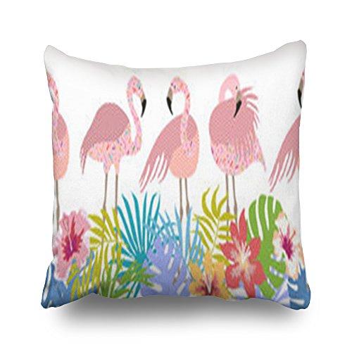 Tong kussenslopen met flamingo-boord, tropische bloemen, beauty, fashion flamingo, individuele decoratie, kussenslopen, fluweel, multi, 45,7 x 45,7 cm