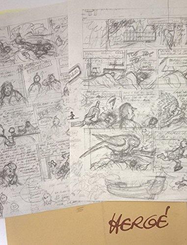 Hergé - Rombaldi - pochette contenant en fac-similé un projet pour les planches 1 et 2 de Tintin et l'Alph-Art