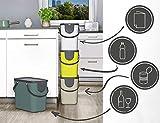 Rotho Albula 2er-Set Mülltrennungssystem 25l für die Küche, Kunststoff (PP) BPA-frei, anthrazit/blau, 2 x 25l (40,0 x 23,5 x 39,0 cm) - 2