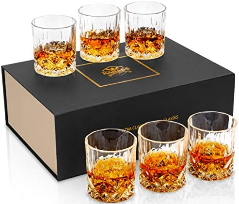KANARS Whiskey Glasses Set of 6 with Elegant Gift Box 10 Oz Premium Old Fashioned Crystal Glass product image