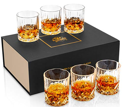 KANARS Whiskey Glasses Set of 6 with Elegant Gift Box,10 Oz Premium Old Fashioned Crystal Glass Tumbler for Liquor, Scotch, Cocktail or Bourbon Drinking Tasting