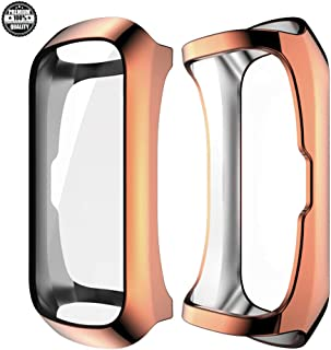 Compatible with Samsung Galaxy Fit SM-R370 Case Screen Protector, 360° All-Round Protection Weight Ultra-Compact TPU Point Plated Protective Cover (Rose Gold)