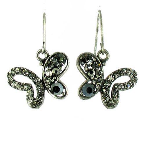 Ohrringe Schmetterling Schwarz auf Antik-Silber Superstar